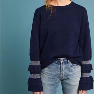 Moth Anthropologie Nilla Ruffle Sleeve Sweater